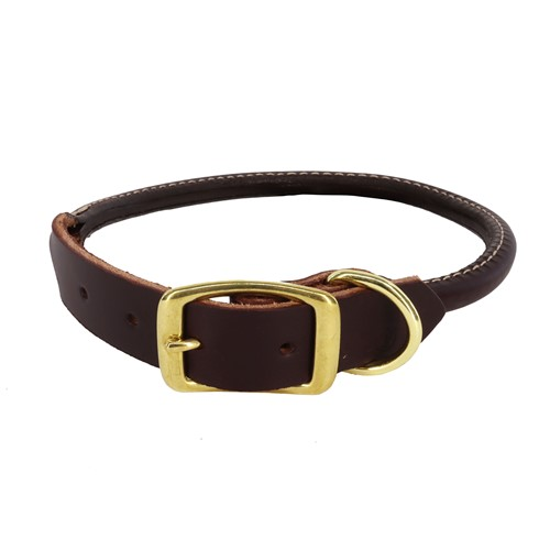 Circle T® Latigo Leather Round Dog Collar with Solid Brass Hardware Product image