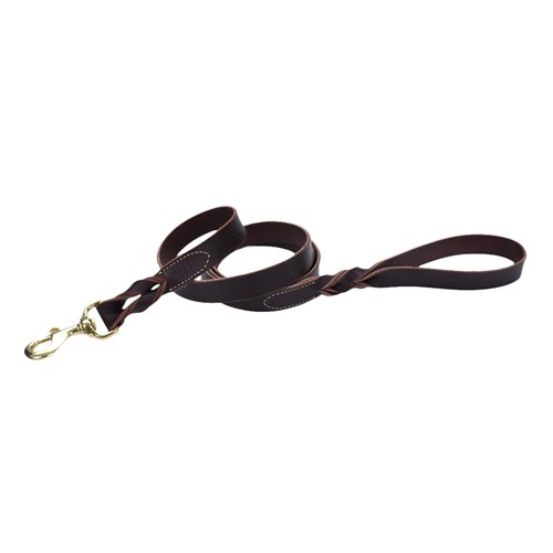 Circle T® Latigo Leather Twist Dog  Leash with Solid Brass Hardware Product image